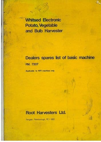 Root Harvesters Ltd Whitsed Electronic Potato, Vegetable & Bulb Harvester Parts Manual