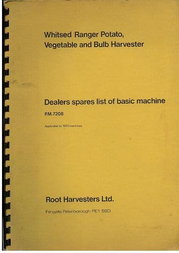 Root Harvesters Ltd Whitsed Ranger Potato, Vegetable & Bulb Harvester Parts Manual