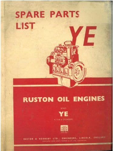 Ruston Vertical Diesel Engine Class YE - 4, 5 & 6 Cylinders Parts Manual
