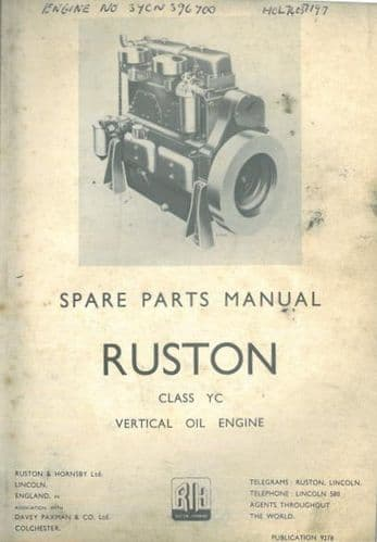 Ruston Vertical Oil Engines Class YC Parts Manual