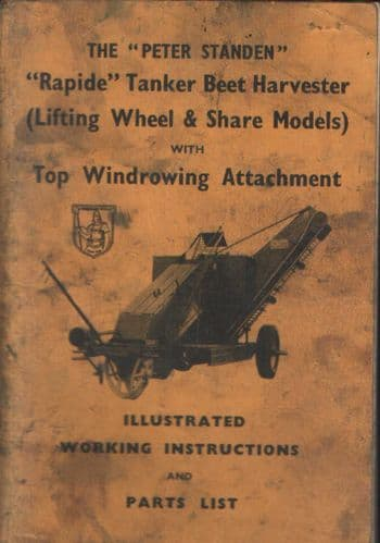Standen Rapide Tanker Beet Harvester Operators Manual with Parts List