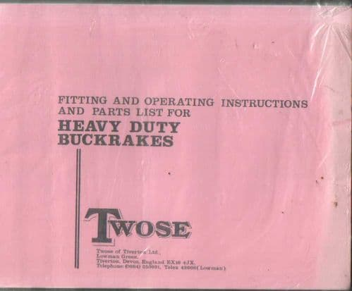 Twose Heavy Duty Buckrakes Operators Manual with Parts List