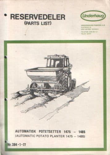 Underhaug Automatic Potato Planter Parts Manual