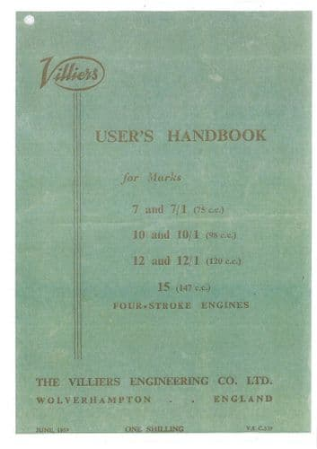 Villiers Engine MK 7, 7-1, 10, 10-1, 12, 12-1, 15 Four Stroke Engines Manual