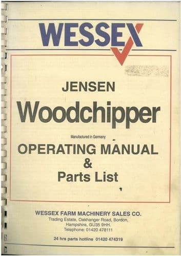 Wessex Jensen Woodchipper Operators Manual with Parts List