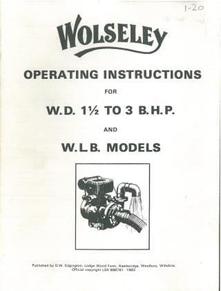 Wolseley Engine WD 1.5 to 3 BHP & WLB Models Operators Manual