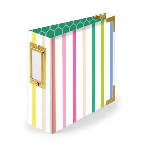 We R Memory Keepers - Striped D Ring 4 x 4 Album