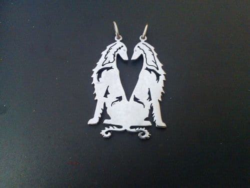 Afghan hound double pendant sterling silver Handmade Design by Marianne Felix