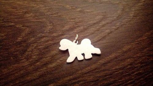 Bichon Trot Charm silhouette solid sterling silver Handmade in the Uk