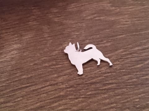 Chihuahua smooth coat Charm silhouette solid sterling silver Handmade in the Uk
