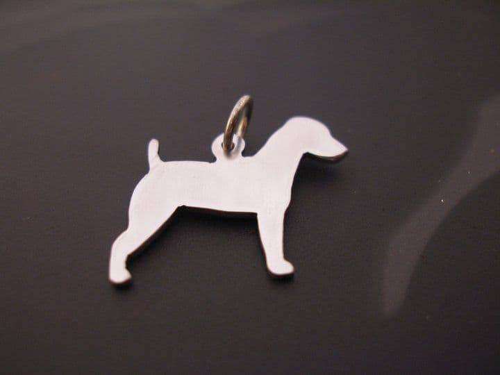 Jack russell terrier pendant sterling silver handmade by saw piercing
