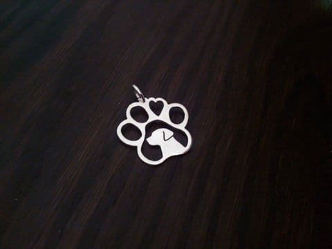 Labrador in a paw with a heart pendant sterling silver handmade by saw piercing