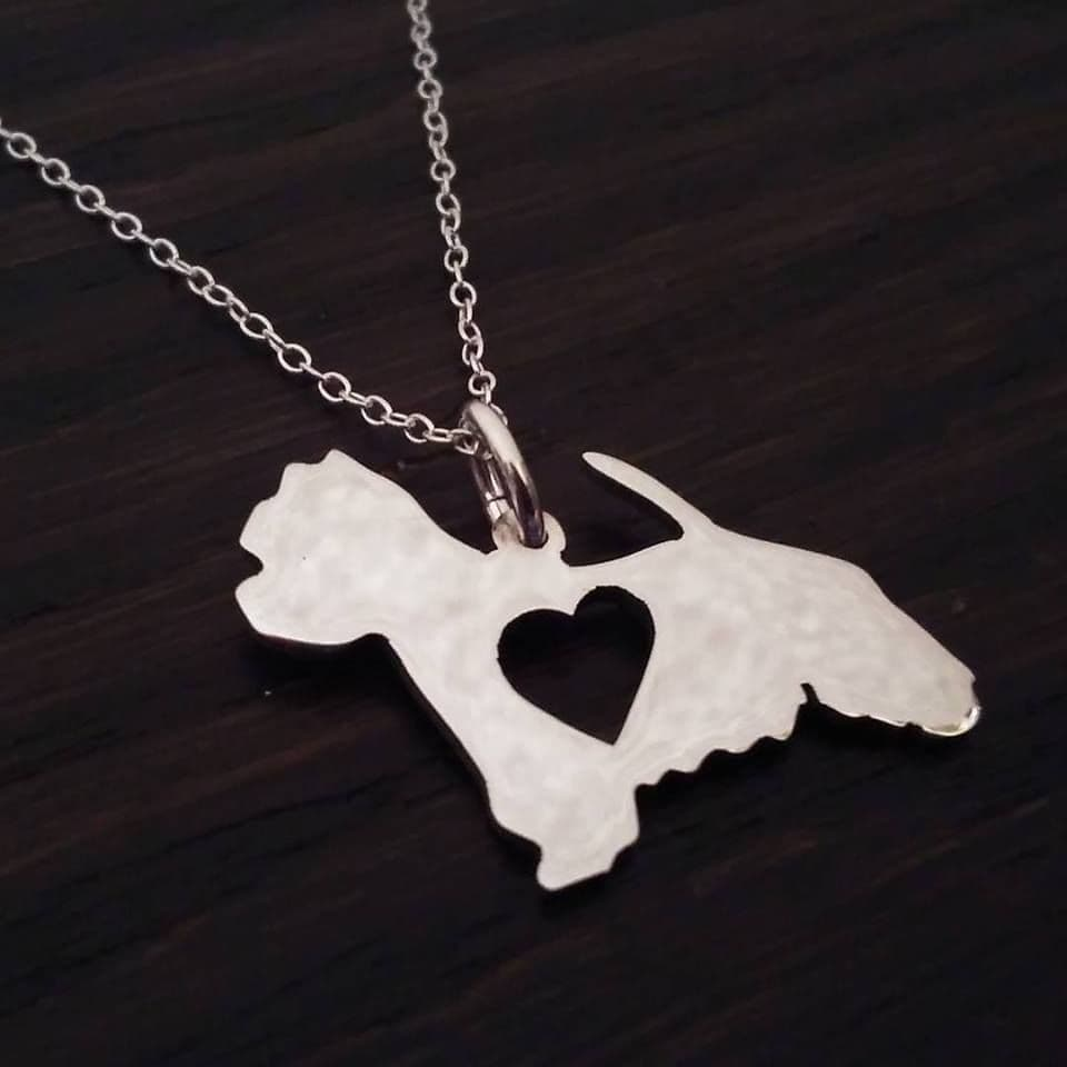 Westie west highland terrier with heart pendant sterling silver handmade by saw piercing