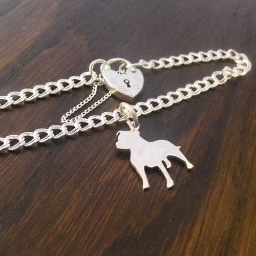 A staffie charm on a z curb bracelet solid sterling silver