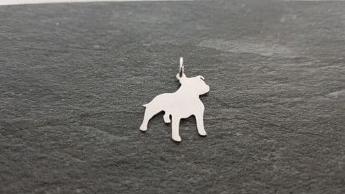 A staffordshire bull terrier staffy dog silhouette pendant sterling silver handmade by saw piercing