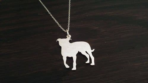 A staffordshire bull terrier staffy strong dog pendant sterling silver handmade by saw piercing