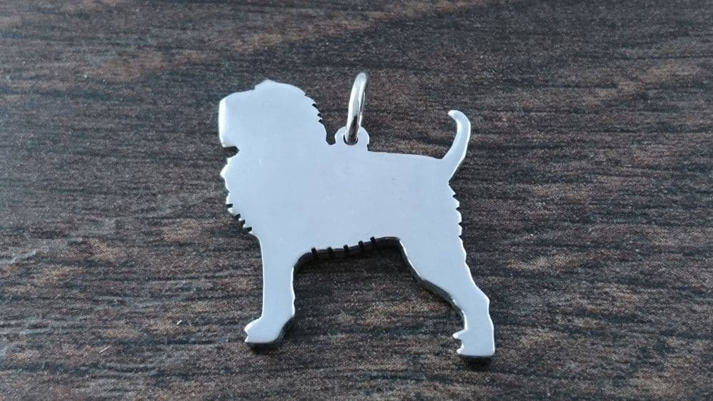 Afenpinscher dog Charm silhouette solid sterling silver Handmade in the Uk