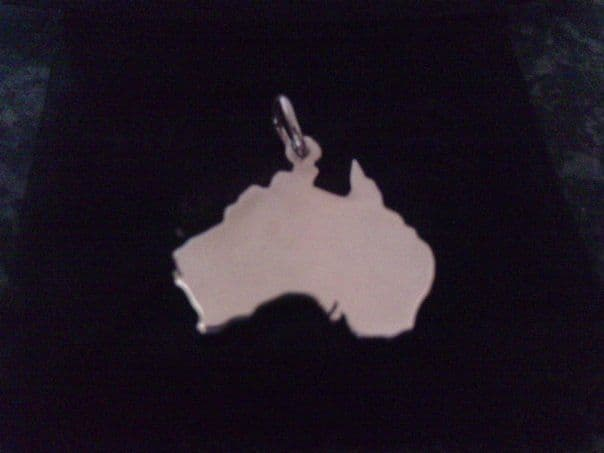 Australia Country Map Charm silhouette solid sterling silver Handmade in the Uk