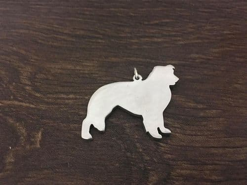 Border Collie Charm silhouette solid sterling silver Handmade