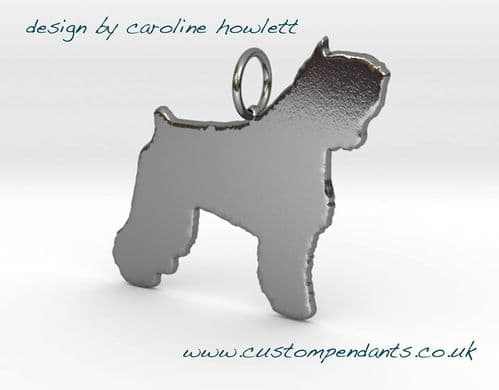 Bouvier Des Flandres dog pendant sterling silver handmade by saw piercing