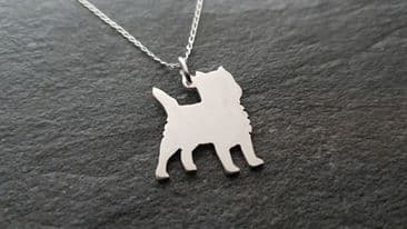 Cairn terrier dog pendant  necklace sterling silver handmade