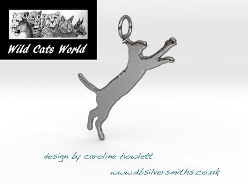Caracal pendant necklace sterling silver handmade by saw piercing Wild Cats World