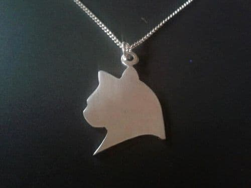 Cat head  silhouette pendant sterling silver handmade by saw piercing