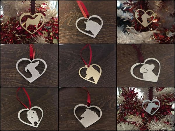Christmas dog in your heart Any breed brass copper or aluminium