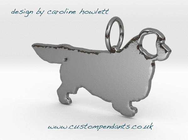 Clumber Spaniel Charm solid sterling silver Handmade in the Uk