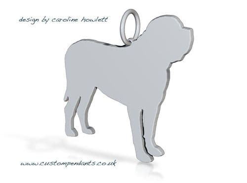 English Bull mastiff Charm silhouette solid sterling silver Handmade in the Uk
