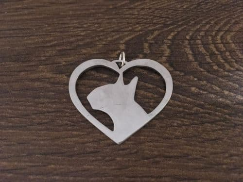 English Bull terrier Heart Charm solid sterling silver Handmade in the Uk