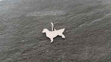 Golden Retriever Charm silhouette solid sterling silver Handmade in the Uk