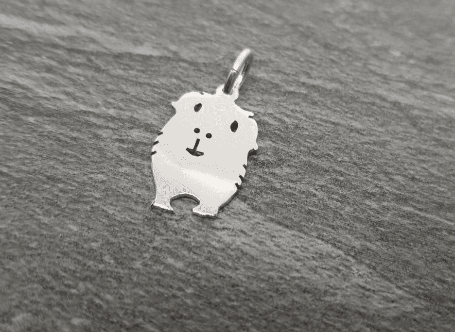 Guinea Pig Cavie Charm silhouette solid sterling silver Handmade in the Uk
