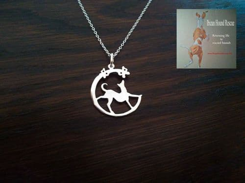 ibizan hound with butterflys pendant exclusive for ibizan hound rescue