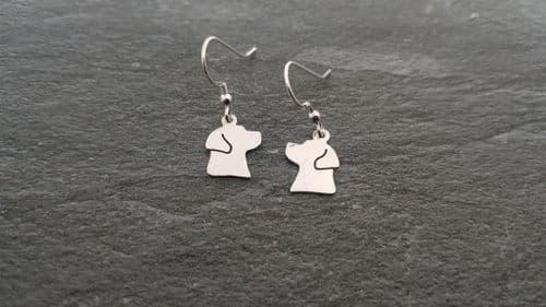 Labrador earrings made by saw piercing sterling silver