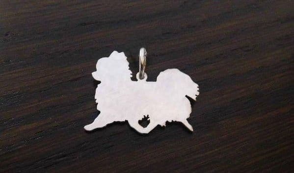 Longhaired chihuahua Charm silhouette solid sterling silver Handmade in the Uk