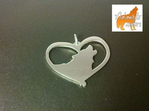 Malamute Howling Heart Sterling silver exclusive for malamute matters