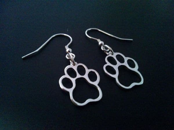 Paw earrings made by saw piercing sterling silver