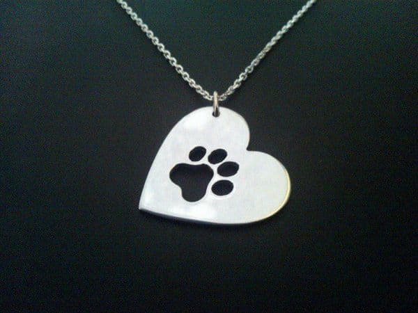 paw in a heart pendant sterling silver handmade by saw piercing