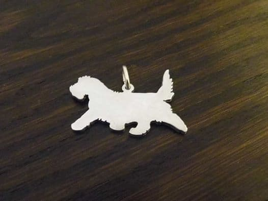 PETIT BASSET GRIFFON VENDÉEN PBVG Charm silhouette solid sterling silver Handmade in the Uk