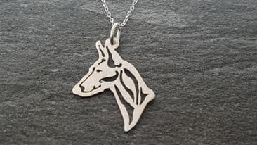 Podenco canario pendant sterling silver handmade by saw piercing