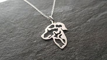 podenco rose eared pendant sterling silver handmade by saw piercing