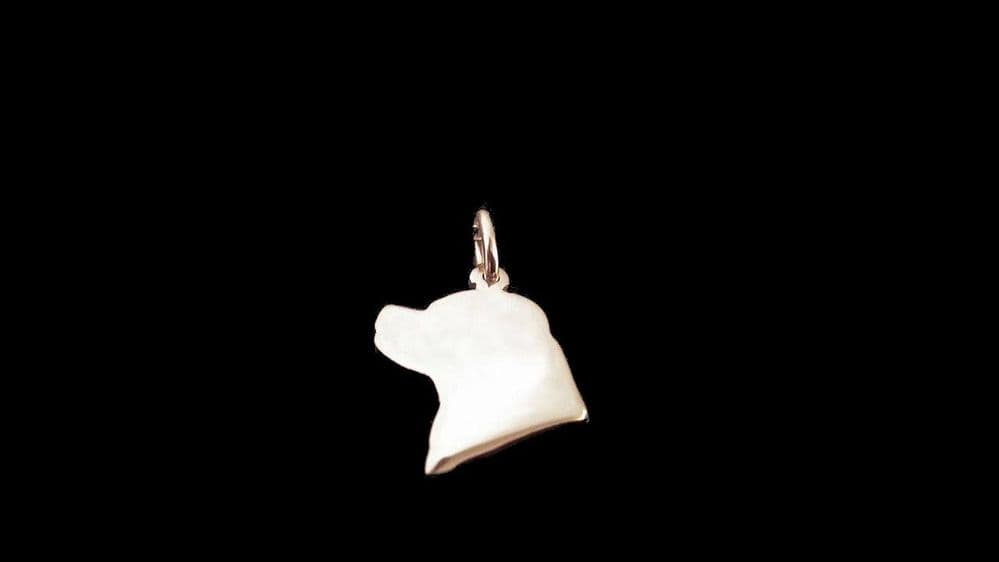 Rottweiler Head Charm natural silhouette solid sterling silver Handmade in the Uk
