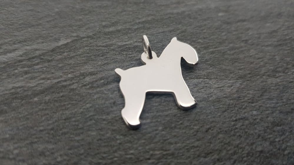 Schnauzer dog Docked and cropped pendant sterling silver handmade by saw piercing Howlett Design