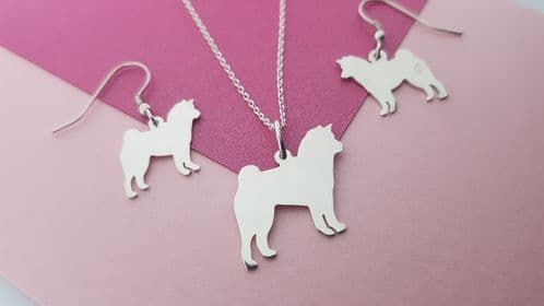 Shiba Inu pendant and earrings sterling silver handmade by saw piercing