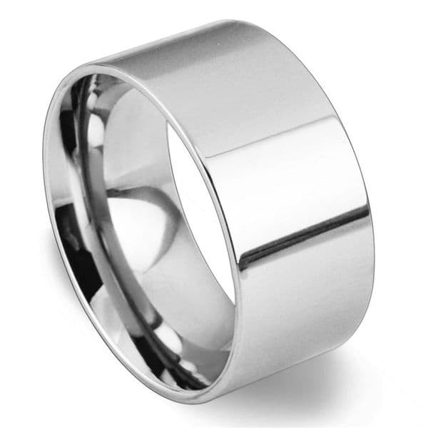 Solid Sterling Silver 925 Flat Shape 10mm Plain Wedding Ring Band