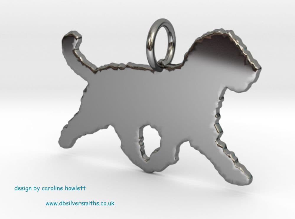 Spanish water dog trot charm solid sterling silver Handmade in the Uk