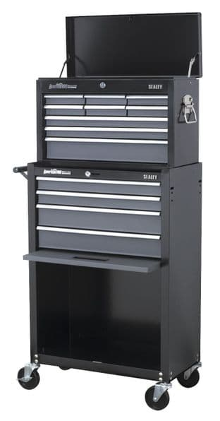 Sealey AP2513B Topchest & Rollcab Combination 13 Drawer with Ball Bearing Slides - Black/Grey