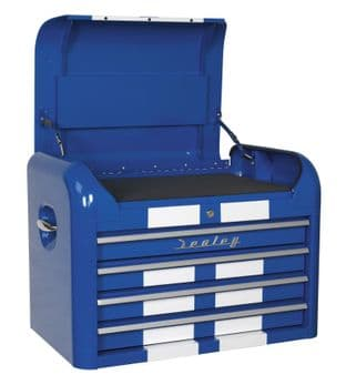 Sealey AP28104BWS Topchest 4 Drawer Retro Style - Blue with White Stripes