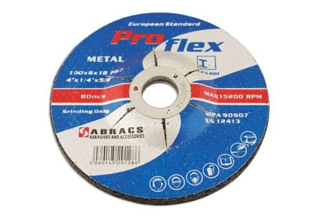 Connect 32191 Abracs Metal Grinding Discs 115mm x 6.4mm Pack 10